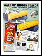 1937 Diamond Crystal Shaker Salt Vintage PRINT AD Corn Food Flavor 1930s