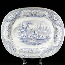"Rare 1800's Lt Blue 19"" Platter Staffordshire Adams Damascus Platter Well & Tree"