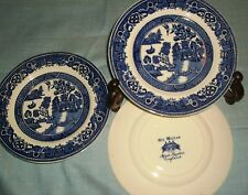 """3""""OLD WILLOW"""" 6 3/4"""" PLATES ALFRED MEAKIN ENGLAND-EXCELLENT"""