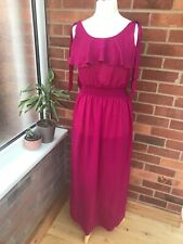 LOVE Hot Pink MAXI Beach Holiday Dress Size S/M Floaty Summer LADIES D3