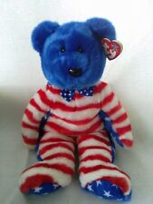 "TY Beanie Buddies Bear Blue/White/Red Stars/Stripes  ""Liberty""  New W/tags"