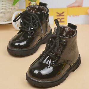 Black Fashion Girls PU Leather Martin Boots Water-Proof Shoes Kids Zipper 3Y 4Y
