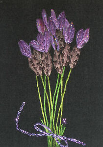"""ACEO Original """"A bunch of Lavenders"""" Silk Hand Embroidery - A Lobban"""