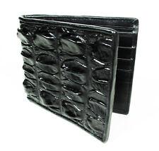 Black Real Crocodile Alligator Leather skin Back Tail Men's Bi-fold Wallet.