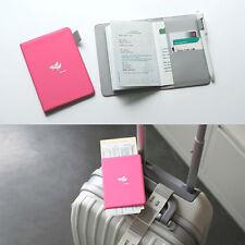 Hard Cover Hot Pink Passport Case Travel Wallet Organizer Card Pocket Pen Holder