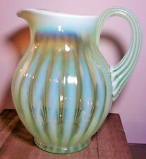 """Fenton Glass Ribbed Optic Vaseline Opalescent Pitcher 8.75"""" High-Mint"""