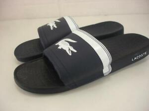 NWT LACOSTE AUTHENTIC FRAISIER MEN/'S EMBOSSED BLACK WHITE SLIP-ON SLIDE SANDALS