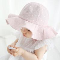 Baby Cotton Sun Hat Girls Summer Bucket Beach Cap Wavy Brim For Infant LD