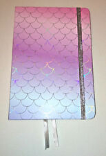 A5 NOTEBOOK JOURNAL MERMAID TAIL SCALES Pink Lilac Turq SILVER ELASTIC Holograph