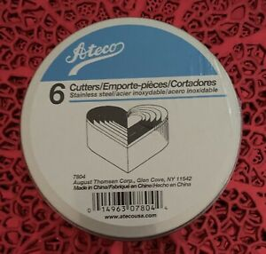 Ateco 6 Piece Metal Nesting Hearts Cookie Cutters Set 7804