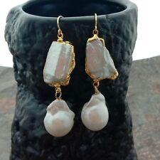 White Biwa Pearl Keshi Pearl Gold Plated Earrings