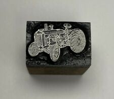 Vintage Tractor Letterpress Printers Block Zinc Plate On Solid Wood