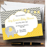 Cute Elephant Personalised Baby Shower Invitations