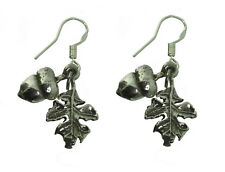 Sterling Silver Earrings Autumn Fall Squirrel Acorn Leaf Wicca Pagan Celtic Life