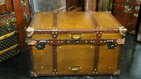 Antique Tan Leather Coffee Table Chest Trunk with Antique leather Trim