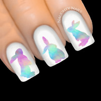 COTTON CANDY Bunny Easter Rabbit Rainbow Nail Water Transfer Decal Sticker Art S