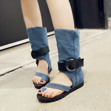 Women Flats Flip Flop Denim Buckle Mid Calf Boots Sandals Roma Punk Shoes Size#
