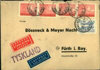 1957 Envelope Cover Airmail Sweden - Furth Bavaria Bossneck & Meyer Nacht