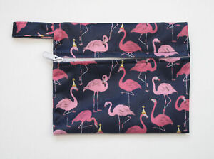 Small Wet Bag for Reusable Breast Pads, Wipes, Cloth Pads - Flamingos