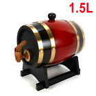 1.5L Wood Pine Timber Wine Barrel For Beer Whiskey Rum Port Wooden Keg w/ Stand