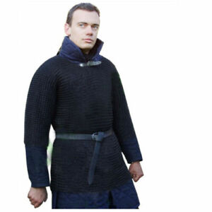 Butted Chain Mail Shirt Black Large Medieval Chainmail Armor Reenactment