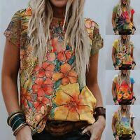 Women Summer V Neck Print Short Sleeve T Shirt Casual Top Size Plus Blouse Tunic