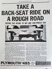 1934  Plymouth Car Take Back Seat Ride on Rough Road Original Ad