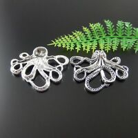 Lots 5pcs Antique Silver Alloy Octopus Charms Pendant Jewelry Craft DIY Making