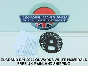 FITS NISSAN ELGRAND E51   STAR 2005 > KPH TO MPH WHITE SPEEDO FACE