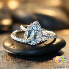 14K White Gold Over 2.Ct Bridal Aquamarine Halo Diamond Wedding Band Rings Sets