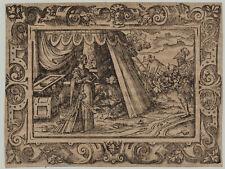 Frau ZELT Soldaten Original Virgil SOLIS Ornament Holzschnitt um 1560 Rollwerk