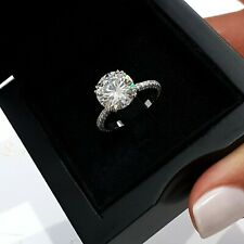 Engagement Ring VVS2  Diamond 2.00Ct Round-Cut Solitaire 14k White Gold Finish