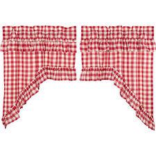 VHC Farmhouse Swag Pair Annie Buffalo Check Kitchen Curtains Rod Pocket