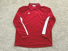 New Adidas Climalite long sleeve performance golf polo shirt men red