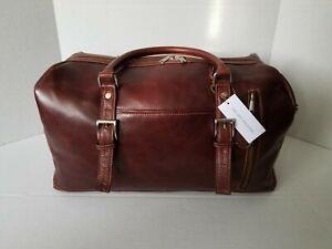 Wilsons Genuine Leather Duffle Travel Bag Brown Medium Brand New