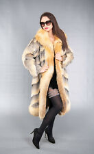 4172 SUPERIOR REAL GRAY FOX FUR COAT LUXURY JACKET RED FOX BEAUTIFUL LOOK SIZE S