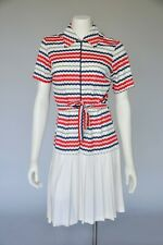 New listing Vtg 60s Red White Blue Striped ZigZag Print Dress Belted Pleated Skirt Mod M