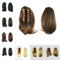 Women Short Ponytail Hair Extensions Synthetic Hair Wavy Claw Clip Hair Pieces w