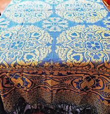 Antique Bedspread Woven Jacquard Brocade Coverlet 93x96