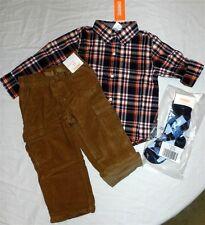Pant Set Brown Gymboree Cargo 4pc Plaid Shirt Fall Winter Boy size 2T New