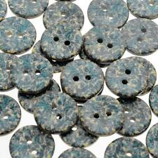 "Lot of 10 BLUE FLORAL 2-hole Coconut Shell Buttons 5/8"" Scrapbook Craft (2772)"