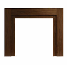 ELECTRIC GAS WALNUT WOOD MODERN TIMBER FIRE FIREPLACE MANTEL MANTLE SURROUND 47""