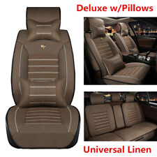 Universal Deluxe Car Seat Cover Linen Fabric 5-Seats Front+Rear Cushion +Pillows