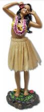 """Hawaiian Dashboard Doll 7"""" Hula Girl Dance Pose Hawaii Hawaiiana Natural Skirt N"""