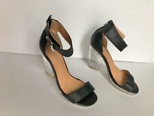 JEFFREY CAMPBELL Womens Soiree Black High Heel Shoes Lucite Perspex Heel -Size 8