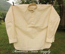 "48"" Small US Civil War Reenactors Soldiers Unbleached Cotton Long Sleeve Shirt S"