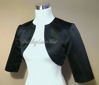 Black Satin Bolero/Shrug/Jacket/Stole/Shawl/Wrap/Tippet 3/4 Pleated Neck New