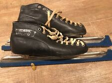 Vintage VIKING Speed Ice Skates US Size 8 / EU 42 Black Leather Long Track