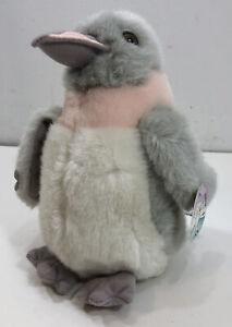 Russ Perky Walking Musical Penguin Wind Up Happy Days Gray Pink Plush Bird Toy