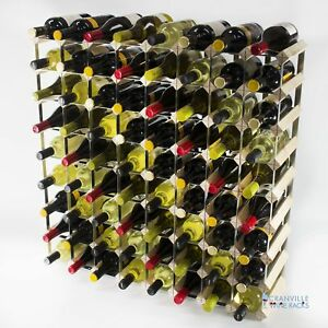 Cranville wine rack storage 72 bottle pine wood and metal wine rack assembled